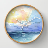 Colorful Abstract Ocean Wall Clock by Susan Windsor