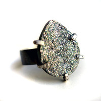 Steely Blue Drusy Ring in Prongs