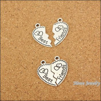 45pair New Style Fashion Broken Heart Parts 2 Best Friend pendant Tibetan silver Fit  Necklace DIY Metal Jewelry Findings 20053