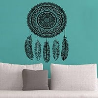 Wall Decal Dreamcatcher Dream Catcher Feathers Night Symbol Indian Vinyl Sticker Decals Home Decor Bedroom Design Interior NS965