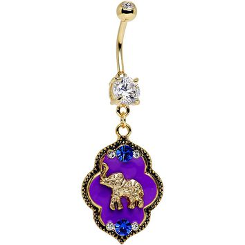 Clear Gem Gold PVD Purple Lucky Elephant Dangle Belly Ring