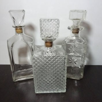 Vintage Clear Glass Liquor or Wine Decanters - Set of 3 - Mid Century Modern Barware