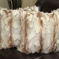 Faux Fur Pillow Cover Brandy Fox Copper 18 X 18 in - Set of 2