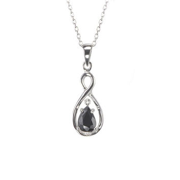 Sterling Silver .85ct Dark Sapphire and Diamond Necklace Teardrop Twist