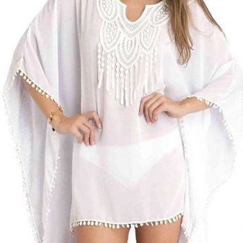White Chiffon Embroidery Boho Beach Tunic