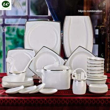 free shipping dinnerware set ceramic bone china 58pcs luxury silver Jingdezhen tableware avowedly dishes set plates bowls