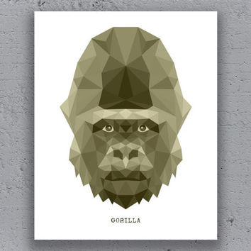 Gorilla Print Printable Typography Poster Geometric Monkey Print Wildlife Polygon Animal Art Retro Art Print Instant Download Digital Print