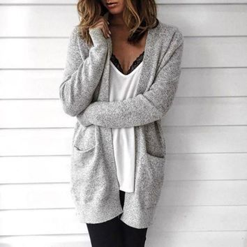 CREYCY2 Loose Long-Sleeved Knit Cardigan Sweater Jacket