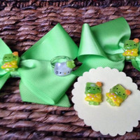 Green Hello Kitty Double Hair Bow Set Matching Earrings