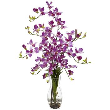 Silk Flowers -Purple Dendrobium With Vase Flower Arrangement Artificial Plant
