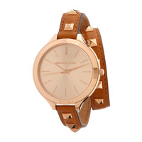 Michael Kors Tan Brown Leather Rose Gold Studded Double Wrap Runway Watch New! — Bib + Tuck