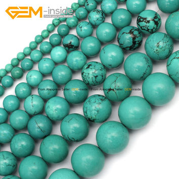 Gem-inside Natural Round Tiny Small Spacer Seed Blue Turquoises Beads For Jewelry Making 4-15mm 15inches DIY Jewellery