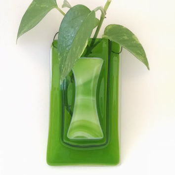 Fused Glass Pocket Vase - Green - Flower - Wall Hanging - Home Decor - Flower Vase - Bud Vase - Pen / Pencil Holder