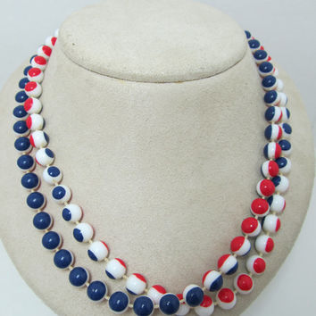 1960s Plastic Red, White, and Blue Beaded Necklace
