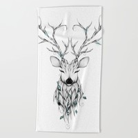 Poetic Deer Beach Towel by LouJah