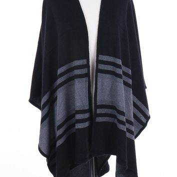 Black Soft Ruana Poncho