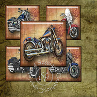 Harley Davidson Art - Digital Collage Sheets sg623 - 1.25 inch, 30mm Squares for Pendants, Jewelry Supplies, Arts & Crafts