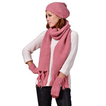 Newest Winter Warm Women Young Girl Fashion Knitted Scarf Gloves Hat Set Crochet Beanie Cap Set