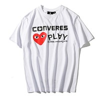 Converse x Comme des garçon play Summer Trending Couple Casual Print Round Collar T-Shirt Top White