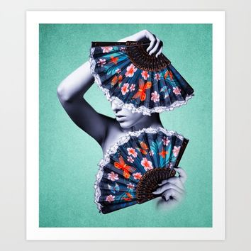 Fan Girl - Blue - Orange Art Print by inspiredimages