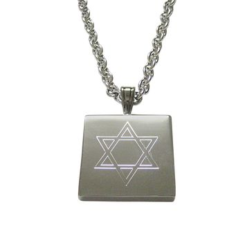 Silver Toned Etched Religious Star of David Pendant Necklace