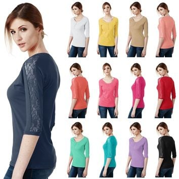 Womens 3/4 Sleeve Cotton Blend Henley Neck T-Shirt With Lace Trim