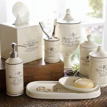 black white apothecary bath accessories from pottery barn