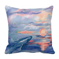 Whale Sunrise Art Throw Pillows