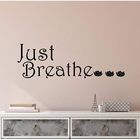 Vinyl Wall Decal Stickers Quote Words Inspiring Meditation Room Just Breathe Letters 2914ig (22.5 in x 7 in)
