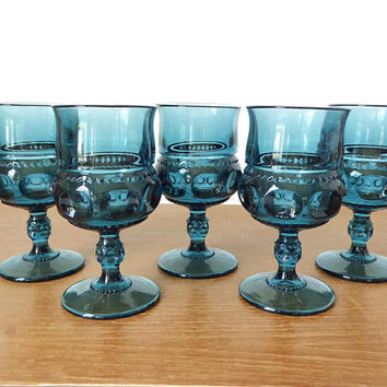 Five large Indiana Glass King's Crown or thumbprint goblets in excellent condition