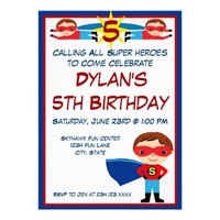 Superhero Comic Book Character Birthday Invitation