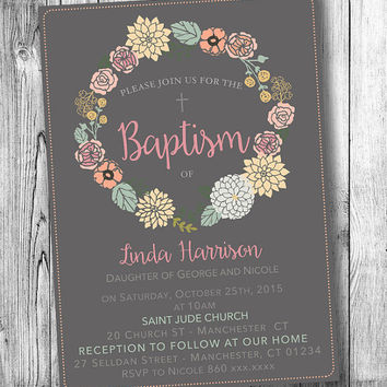 Baptism Girl Invitation Christening Invitations Printable Baby Girl Baptism Invite Elegant Flowers Floral Invites Pink Wreath (DIGITAL FILE)