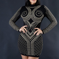 Black Riveted Long Sleeve Bodycon Dress