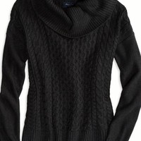 AEO Women's Real Soft Cabled Hi-lo Sweater