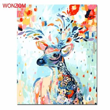Deer Oil Painting By Numbers DIY Coloring wall pictures for living room Animal cuadros decoracion Paintings drawing by numbers