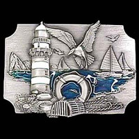 Coastal Scene  Enameled Belt Buckle