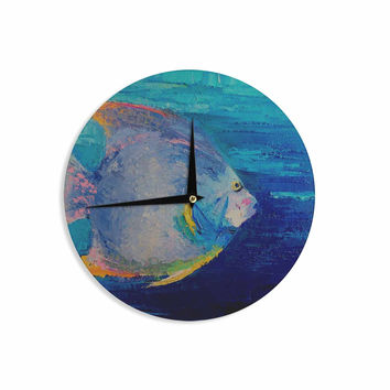 "Carol Schiff ""Tropical Fish II"" Blue Pink Painting Wall Clock"
