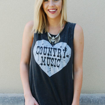 Chaser Country Music Tank - Vintage Grey