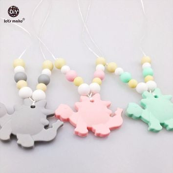 Let's Make Baby Necklace 3pcs Silicone Beads Dinosaur Silicone Teething Toddler Toy Nursing Play Gym Food Grade Materials Charms