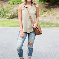 Mineral Wash Sleeveless Top - Olive