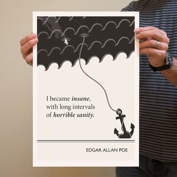 Original Illustration - Edgar Allan Poe quotation - Fine Art Prints - Art Posters - Literature inspired art