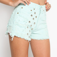 purple label - women's front dome studded distressed levi's denim jean shorts (mint) - Purple Label | 80's Purple
