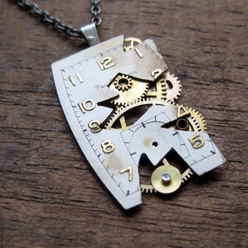 """Watch Dial Pendant """"Deconstructed"""" Reconstructed Watch Parts Necklace Recycled Upcycled Gear Art Steampunk by A Mechanical Mind"""