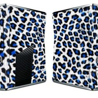 Bundle Monster Vinyl Skin Sticker For Xbox 360 S Slim Game Console - Cover Protector Art Decal - Blue Leopard