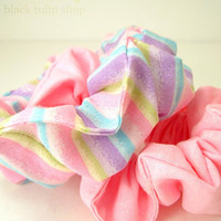 Retro 80s Inspired Fairy Cute Fairy Kei/Decora Kei/Sweet Lolita Hair Scrunchie Set - Pastel Pink And Stripe Gitter Set