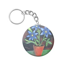 Blue Flowers Basic Round Button Keychain