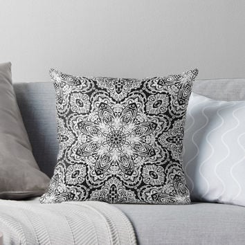 'Mehndi Ethnic Style G477' Throw Pillow by MEDUSA GraphicART