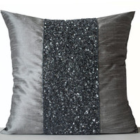 Grey beaded Pillows -Grey Silk Metallic Pillows -Grey Sparkle Pillow -Gray Beads Embroidered Pillow -16x16 -Gift -Beaded Cushions -Grey Bead