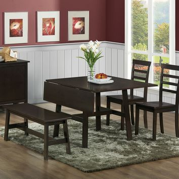 4 pc Venice collection espresso finish wood double drop leaf dining table set with wood top seats