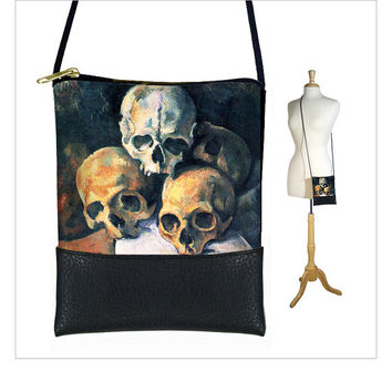 SALE Small Cross Body Purse Cezanne Pyramid of Skulls Hipster Shoulder Bag Mini Crossbody Bag fits iPhone 6 Plus, Steampunk Goth black (RTS)